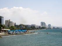 Widok kolumnada wzdłuż morza, Limassol, Cypr fotografia stock