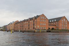 Widok Kopenhaga stary miasto od kanału, Dani obraz royalty free