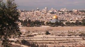 Widok kopuła skała od góry oliwki Jerozolima, Izrael, - zbiory