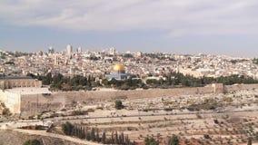 Widok kopuła skała od góry oliwki Jerozolima, Izrael, - zdjęcie wideo