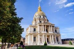 Widok kopuły des Invalides w Paryż zdjęcia royalty free