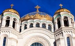 Widok kopuły St Nicholas Morska katedra w Kronstadt Obraz Stock