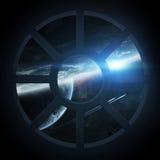 Widok kosmos od statek kosmiczny kabiny Obrazy Stock