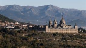 Widok Królewski monaster El Escorial w San Lorenzo Del Es fotografia stock