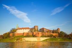 Widok Królewski Wawel kasztel i Vistula rzeka Obraz Stock