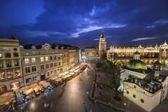 Widok Krakow, Polska przy zmierzchem Zdjęcia Stock