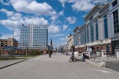 Widok Kremlyovskaya ulica. Kazan. Rosja Obraz Royalty Free