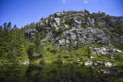 Widok las i skały odbija na jeziorze ukazujemy się dalej Obrazy Royalty Free