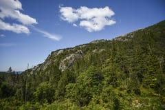 Widok las i skały odbija na jeziorze ukazujemy się dalej Zdjęcie Royalty Free