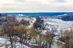 Widok lasy z stromymi bankami i rzeka Zdjęcie Stock