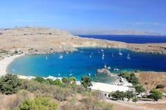 Widok Lindos zatoka, Rhodes Dodecanese wyspy, Grecja, Europa Fotografia Stock