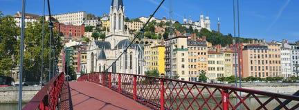 Widok Lion miasto od czerwonego footbridge Obrazy Royalty Free