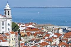 Widok Lisbon od przegapiającego Santa Luzia, Portugalia Obraz Stock