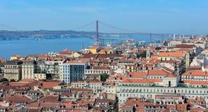 Widok Lisbon z wierzchu Rua Augusta łuku, Portugalia obrazy royalty free