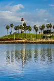 Widok Long Beach schronienia latarnia morska w Long Beach, Zdjęcie Stock
