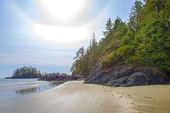 Widok Long Beach w Tofino, popularny miejsce przeznaczenia w Vancouver wyspie, Kanada zdjęcia stock