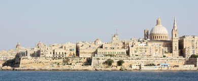 Widok los angeles Valletta od Sliema Malta Obrazy Royalty Free