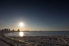 Widok Luanda śródmieście z pięknym zmierzchem luau Angola obraz royalty free