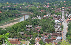 Widok Luang Prabang od Phousi góry fotografia stock