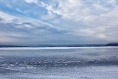 Widok lukrowy Oslo fjord w zimie Zdjęcie Stock