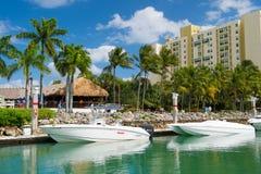 Widok luksusowe łodzie i jacht dokujący w Miami południu Wyrzucać na brzeg Marina Luksusowy stylu życia pojęcie obrazy stock