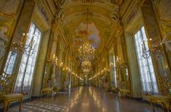 Widok Lustrzana galeria w Palazzo Real Royal Palace w włoskim mieście genua, UNESCO światowego dziedzictwa miejsce, Włochy obrazy royalty free