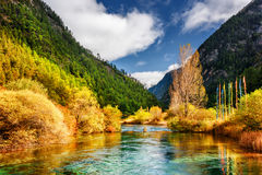 Widok lustrzana rzeka z kryształem - jasna woda wśród gór Zdjęcie Royalty Free