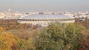 Widok Luzhniki stadium od Wróbliej wzgórzy lub Vorobyovy Krwawej obserwacji przegląda platforma zbiory wideo