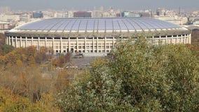 Widok Luzhniki stadium od Wróbliej wzgórzy lub Vorobyovy Krwawej obserwacji przegląda platforma zdjęcie wideo