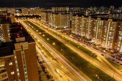 Widok Lyubertsy przy nocą Moskwa Oblast, Rosja Fotografia Stock