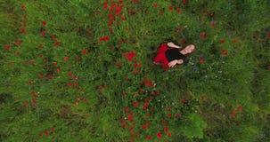 Widok młoda dziewczyna taniec w makowej śródpolnej mienie fladze Niemcy w rękach outdoors z góry Zwi?zek z natur? zbiory
