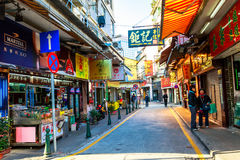 widok Macau miasta stara aleja Obrazy Royalty Free