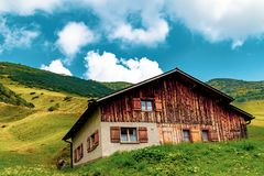 Widok Malbun, ośrodek narciarski w Liechtenstein zdjęcie stock