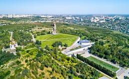 Widok Mamayev Kurgan, wzgórze z pamiątkowym kompleksem upamiętnia bitwę Stalingrad Volgograd, Rosja obrazy stock