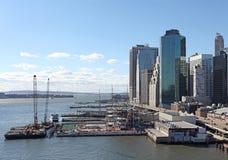 Widok Manhattan od mosta brooklyńskiego, Nowy Jork, usa Zdjęcie Stock