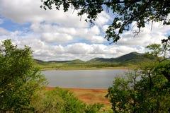 Widok Mankwe jezioro, Pilansberg gry rezerwa Fotografia Stock