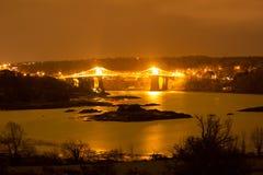 Widok Meni most nad Meni straights, Północny Walia, UK Zdjęcia Stock
