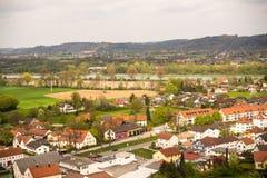 Widok miasteczko domy Zdjęcia Stock