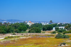 Widok miasteczko Paphos od Archeologicznego parka Fotografia Stock