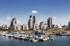 Widok miasto Ashdod od morza śródziemnomorskiego, Fotografia Stock