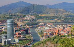 Widok miasto bilbao Hiszpanii zdjęcie royalty free