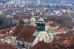Widok miasto Graz od above, Austria Zdjęcie Stock