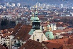 Widok miasto Graz od above, Austria Obraz Royalty Free