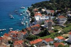 Widok miasto Hvar od fortecy hvar wyspa Chorwacja Obrazy Royalty Free