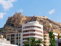 Widok miasto i kasztel St Barbara w Alicante Hiszpania Fotografia Stock