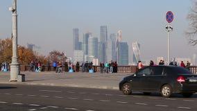 Widok miasto i kompleks drapacz chmur Moskwa miasto od Wróbliej Krwawej obserwacji wzgórzy lub Vorobyovy przegląda platforma zbiory