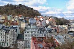 Widok miasto Karlovy zmienia Zdjęcia Stock