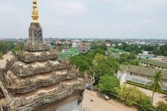 Widok miasto od zwycięstwo zabytku w Vientiane, Laos Zdjęcia Royalty Free