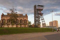 Widok mineshaft w Katowickim mieście Polska obrazy royalty free
