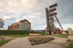 Widok mineshaft w Katowickim mieście Polska zdjęcia royalty free